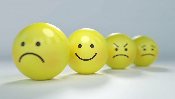 Smiley, Emoticon, Zorn, Wütend, Angst für Artikel Fokus auf positive Ausstrahlung