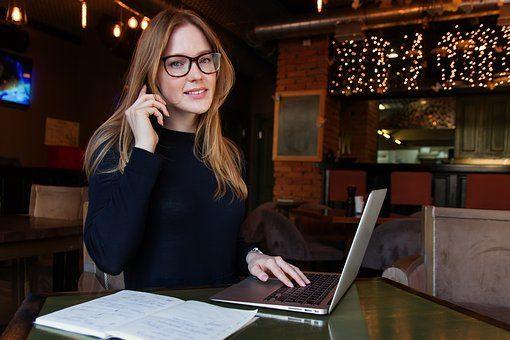 Geschäft, Lady, Frau, Mädchen, Computer, positive Ausstrahlung