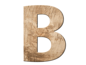 B aus Holz repräsentiert das ABC Kundenanalyse System