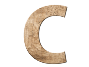 C aus Holz repräsentiert das ABC Kundenanalyse System