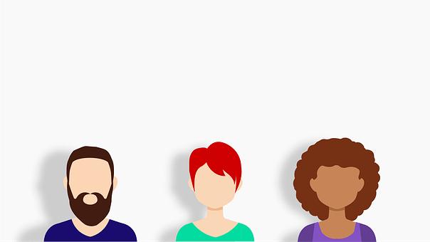 Drei Personen, ein Mann, zwei Frauen, in grober Form konzipiert, stellen verschiedene Persönlichkeiten dar, Comic