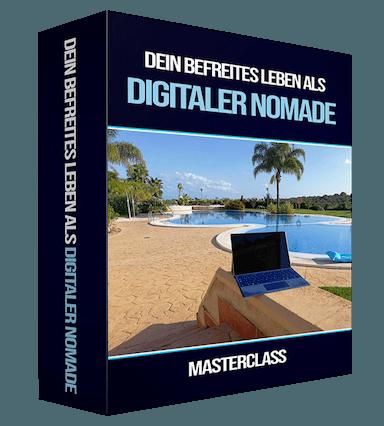 Digitaler Nomade werden Masterclass Kurscover Dein befreites Leben als Digitaler Nomade Masterclass