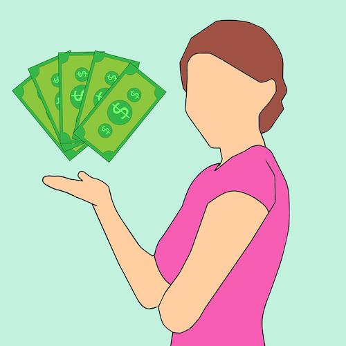 Cartoon-Frau mit Geldscheinen als Beispiel für Kundenbedarf