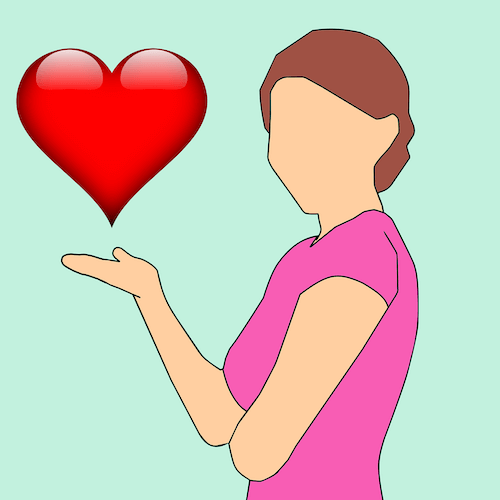 Cartoon-Frau mit Herz als Beispiel für Kundennachfrage
